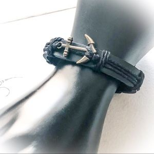 Men's Black Adjustable Leather Anchor Bracelet